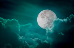 Nighttime green sky with clouds, bright full moon would make a g Stock Images