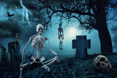 Nighttime Halloween scene at cemetery Royalty Free Stock Image