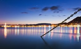 Nighttime in the harbour of zakynthos. Beautiful royalty-free stock photography. Nighttime in the harbour of Zakynthos Royalty Free Stock Images
