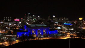 Nighttime High Angle View Union Station Downtown City Skyline Kansas City. They have decided to use blue lighting on the train station in Kansas City stock video