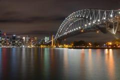 Nighttime krajobrazowy widok Sydney Australia Obrazy Stock