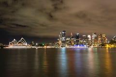 Nighttime krajobrazowy widok Sydney Australia Zdjęcia Stock