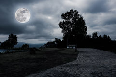Nighttime with landscape of moonlight in a beautiful green fores. Night sky and super moon with curvy roadway at view point. Landscape of moonlight in the midst stock images