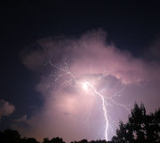 Nighttime lightning bolt Royalty Free Stock Photo