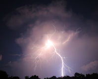 Nighttime lightning bolt Stock Photos