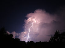 Nighttime lightning bolt Royalty Free Stock Image