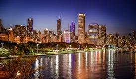 Nighttime linii horyzontu ogromne miasto Zdjęcie Royalty Free
