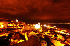 Nighttime in Lisbon, Portugal (Lisboa) Royalty Free Stock Photo