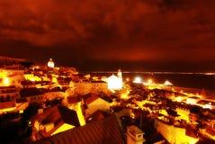 Nighttime in Lisbon, Portugal (Lisboa) royalty free stock photos