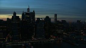 Nighttime manhattan freedom tower landscape aerial stock video footage