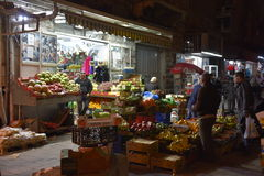 Nighttime Market Jeruselam. Fresh produce, sundries, and night air shoppers after the Sabbath on a Saturday evening in the Holy Land Stock Images