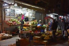 Nighttime Market Jeruselam stock images