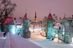 Nighttime old city of Tallinn. Snowy nighttime old city of Tallinn, Estonia royalty free stock photos