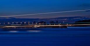 Nighttime på floden Royaltyfria Foton
