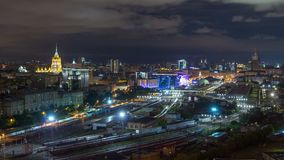 Nighttime panoramic view to Kiev railway station timelapse and modern city in Moscow, Russia stock video footage