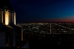 Nighttime Panoramiczny widok W centrum Los Angeles Od Griffith obserwatorium Fotografia Royalty Free