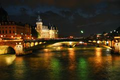 nighttime paris Royaltyfria Bilder