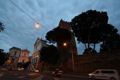 Nighttime picture from Rome. Nighttime in Rome with street lights and dark blue sky royalty free stock images