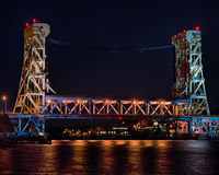 Nighttime at Portage Lake (Houghton-Hancock) Lift Bridge, Hancock, MI. Nighttime at Portage Lake (Houghton-Hancock) Lift Bridge from Porvoo Park, Hancock Stock Images
