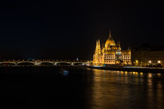 Nighttime river view of the parliament building in Budapest Hung Royalty Free Stock Image