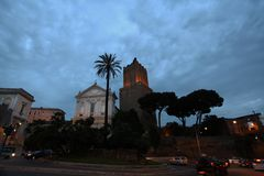 Nighttime picture from Rome. Nighttime in Rome with street lights and dark blue sky stock photo