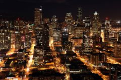 Nighttime in Seattle Royalty Free Stock Image