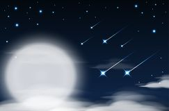 Nighttime sky background with full moon, clouds and stars. Moonlight night. Vector Stock Images