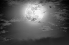 Nighttime sky with clouds and bright full moon.  Black and white Stock Photos