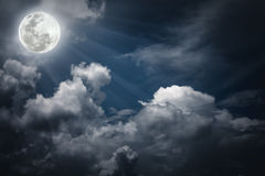 Nighttime sky with clouds, bright full moon would make a great b Stock Images
