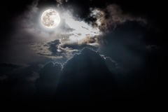 Nighttime sky with clouds, bright full moon would make a great b Royalty Free Stock Photography