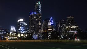 Night timelapse view of traffic on South 1st Street Bridge in Austin Texas. A nighttime time lapse view of traffic on the South 1st Street Bridge in downtown stock footage