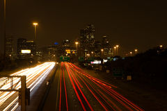 Nighttime traffic heading to the city at night Royalty Free Stock Photo