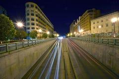 Nighttime traffic on Massachuetts Ave in Washington, D.C. Stock Photos