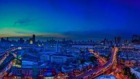 Nighttime and transportation in Bangkok city Thailand, panorama Royalty Free Stock Images