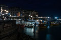 Nighttime view of a harbour royalty free stock photos