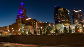 Nighttime view of the power and light district  in Kansas City Missouri. Stock Photos