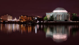 Nighttime view of Jefferson Memorial & Capitol Royalty Free Stock Images