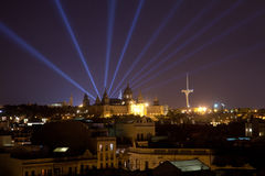 Nighttime views of Barcelona. MNAC Museum Royalty Free Stock Photo
