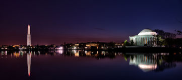 Nighttime Washington D.C Waterfront Panorama Royalty Free Stock Photography