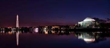 Nighttime Washington D.C Waterfront Panorama Royalty Free Stock Photography