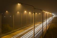 Nighttimen som skjutas av att rusa, trafikerar Royaltyfria Foton