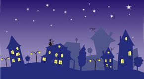 Nighttown. The night town, violet colors, best for cartoons Stock Photography