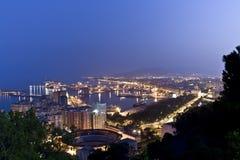 Nightview über Màlaga Stockfotografie