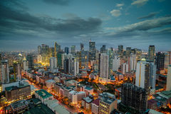 Nightview горизонта города Манилы, Манила, Филиппины Стоковые Фотографии RF