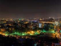 Nightview aéreo de la ciudad foto de archivo libre de regalías