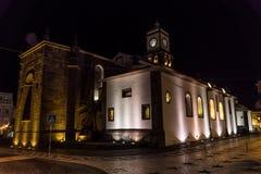 Nightview av kyrkan av st sebastian på pontadelgadaen royaltyfri bild