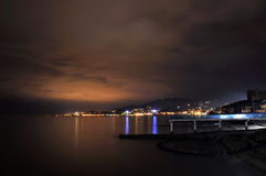 Night view on Black Sea coastline in Adler, Russia Royalty Free Stock Photo