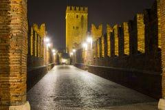 Nightview of Castelvecchio Bridge in Verona Stock Images