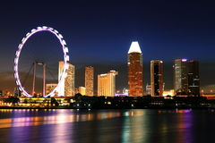 Night singapore skyline at marina bay Royalty Free Stock Photo