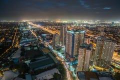 Nightview da skyline da cidade de Manila, Manila, Filipinas Fotos de Stock
